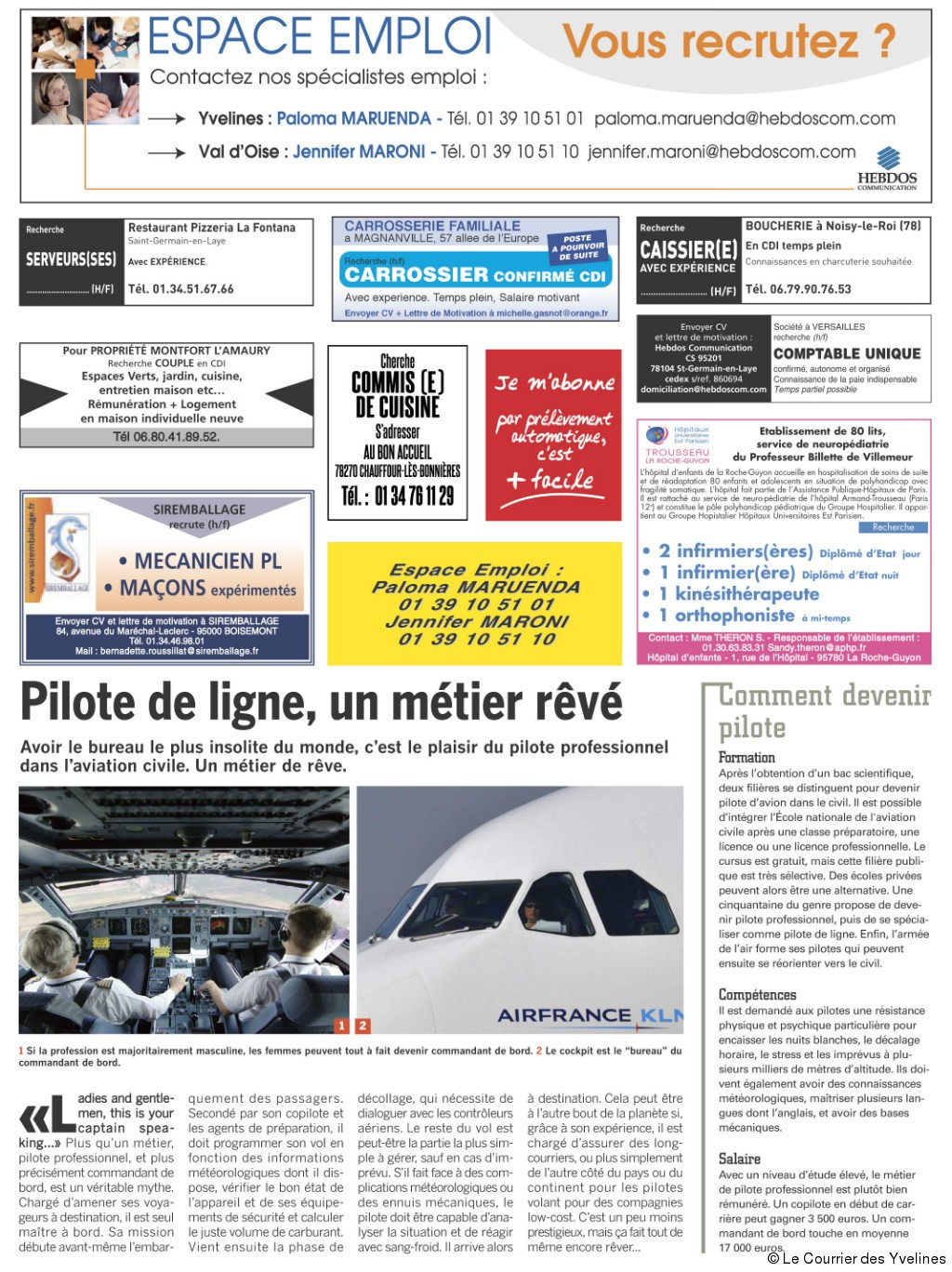 Nos offres d 39 emplois article c t yvelines for Emploi jardinier yvelines